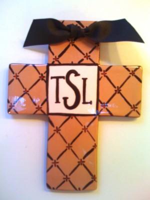 Brown Monogrammed Cross