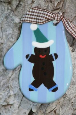 Gingerbread Mitten Flat Ornament